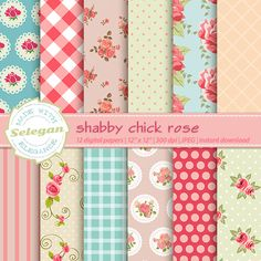 "shabby chick digital paper "" Shabby Chick Rose "" rose pattern digital floral…"