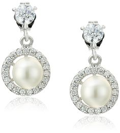 Platinum-Plated Sterling Silver Swarovski Zirconia Freshwater Cultured Pearl in Wheel Stud Earrings (3/4 cttw) *** More info could be found at the image url. (This is an Amazon Affiliate link and I receive a commission for the sales)