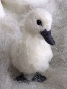 Needle Felted Baby Swan Cygnet by ClaudiaMarieFelt on Etsy