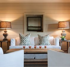 burlap lamp shades & lighted frame around wall print
