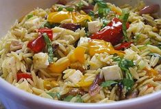 Orzo Salad with Roasted Vegetables (Ina Garten). *** I made this but with pasta. Will need to try it with orzo soon :-) Orzo Salad Recipes, Pasta Recipes, Cooking Recipes, Wing Recipes, Vegetable Recipes, Vegetarian Recipes, Healthy Recipes, Roasted Vegetables Barefoot Contessa, Ina Garten Roasted Vegetables