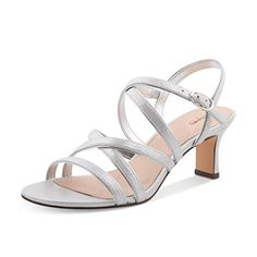 d2b92faa43e9cf XYD Prom Strappy Open Toe Summer Sandals Low heel Slingbacks Ankle Strap  Casual Shoes for Women Size 10 Silver ( Partner Link)