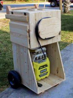 An air compressor cart that can go anywhere you need it to go.  Plus it has storage for four nail guns, an on board power strip and a place for all your accessories.