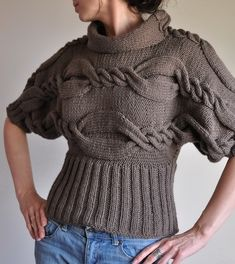 Hand Knit Cable Sweater Designer Unique T-sweater kimono turtleneck fall winter sweater taupe or CHOOSE YOUR COLOR From Classic To Modern Cable Knitting, Hand Knitting, Knitting Patterns, Knitting Machine, Mode Crochet, Knit Crochet, Cable Sweater, Winter Sweaters, Pulls