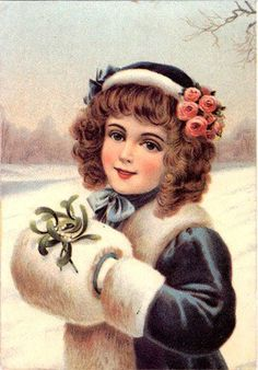 Katie, this is what a Muff is, the white fluffy thing that her hands are in. Girl in winter-vintage