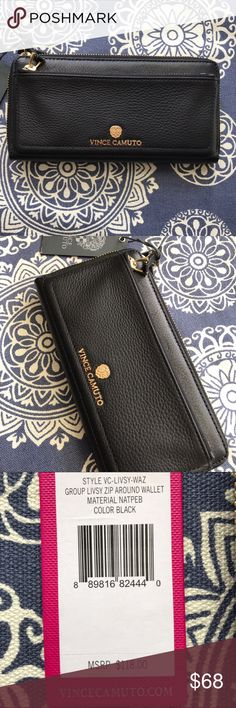 """*SOLD* Vince Camuto Zip Around Wallet Brand new Vince Camuto Zip Around Wallet. Black with gold (color) detailing.   8 credit card slots with 2 separate areas on either side for cash. One zipper inside, one on the outside.  MSRP: $118  4.25"""" H, 8.25"""" L. Vince Camuto Bags Wallets"""