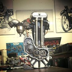 500cc alcohol-burning Harley Davidson race engine.