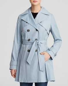 Laundry by Shelli Segal Coat - Double-Breasted Button Front Trench   Bloomingdale's