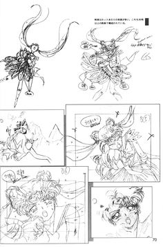 "Animation sketches of Eternal Sailor Moon (Usagi Tsukino) & Super Sailor Chibi Usa (Small Lady) from ""Sailor Moon"" series by manga artist Naoko Takeuchi."