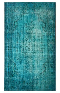 Rugs USA Overdye Medallion Wool Knotted Teal Rug  Item #: 200ACC249-P  $1609