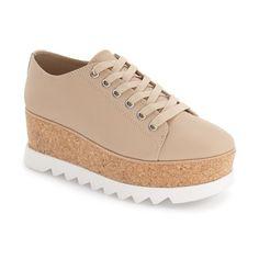 Women's Steve Madden 'Korrie' Platform Sneaker ($130) ❤ liked on Polyvore featuring shoes, sneakers, nude leather, steve madden, platform sneakers, platform trainers, leather sneakers and platform leather sneakers