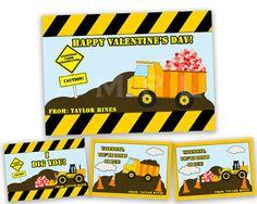 Boys Dump Truck Valentines - Classroom Valentine Day Cards - Dig You - Loads of Fun - Construction Valentine - Boy Valentines - Heart