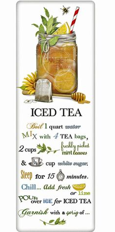 Sweet Iced Tea Recipe 100% Cotton Flour Sack Dish Towel Tea Towel