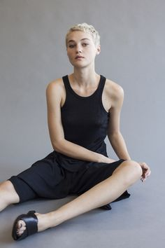 From the Shaina Mote Core Collection, the Marin Tank is a fitted tank top with curved hem and bias finished straps and neckline. Linen Jersey Available in Ink, Bleach