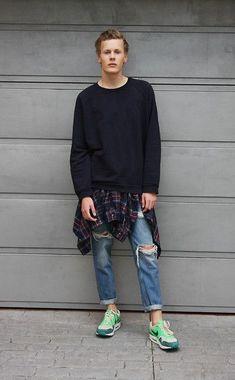 Acne Studios Sweater, H&M Plaid Flannel Shirt, Zara Ripped Boyfriend Jeans, Nike Air Max 1