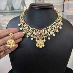 10 Top one gram gold chokers with price. Buy 1 Gram gold chokers necklace with earrings with best price. 1 Gram Gold Jewellery, Gold Jewelry, Beaded Jewelry, Gold Choker Necklace, Earrings, Indian Jewelry, Jewelry Collection, Chokers, Lahenga