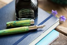 Grow your fountain pen collection with the Visconti Van Gogh Iris paired with Diamine Soft Mint. Read this blog on colorful, pastel, spring themed fountain pens with matching ink!