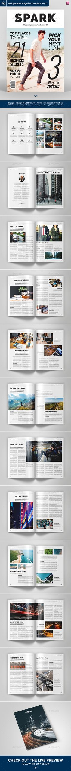 Multipurpose Magazine Template by northgraphics Live Preview Here on ISSUU This is a Professional InDesign Multipurpose Magazine Template. With 24 pages and all parts can be eas