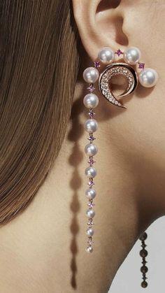 Diamond Dangle Earrings, Chain Earrings, Diamond Jewellery, Beaded Earrings, Necklace Set, Pearl Jewelry, Gold Jewelry, Jewelery, Pearl Cream