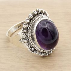 925 Sterling  Silver  Amethyst Ring  Handmade Jewelry  Ring Size us 9.5 #Unbranded #Cocktail