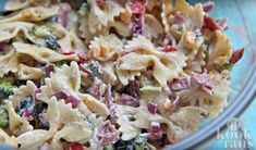 great dinner for a hot summer night tonight ~ creamy bacon cheddar ranch pasta salad recipe cold pasta salad. i subbed sun dried tomatoes for the fresh Creamy Ranch Pasta Salad Recipe, Bacon Ranch Pasta Salad, Creamy Pasta, Pasta Salad Recipes, Bacon Pasta, Chicken Bacon, Macaroni Salad, Recipe Pasta, Diced Chicken