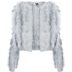 TOPSHOP Knitted Marabou Feather Cardi - polyvore