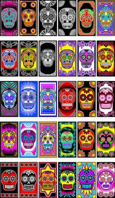 Bright Colored Sugar Skull Digital Pictures for 1x2 Inch Dominos. $2.50, via Etsy.
