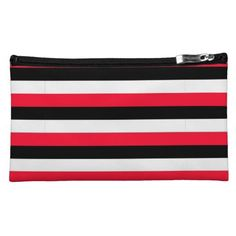 Sueded medium size Black, White and Red Stripes Make-up (cosmetics) Bag $44.95. Add text or a photo!