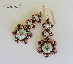 CHOCOLATE MINT beaded earrings beading tutorials and patterns