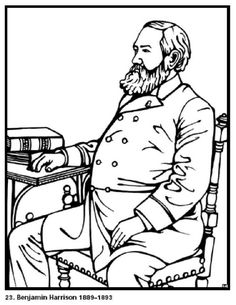 Benjamin Harrison the 23rd President of the United States. Free printable coloring sheet. Click to print this and other presidential pictures.