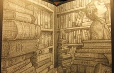 Bookshop image from The Invention of Hugo Cabret ~ Brian Selznick