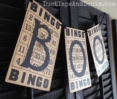 How to make a Halloween banner out of vintage Bingo cards. See more vintage style Halloween crafts and decor on halloweenbingo Halloween Banner, Halloween Ornaments, Halloween Cards, Holidays Halloween, Easy Halloween, Vintage Halloween, Halloween Decorations, Halloween Bingo, Fall Decorations