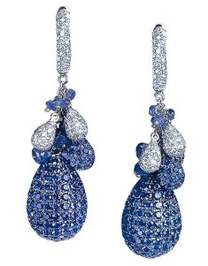Sapphire and Diamond Spherical Pave Drop Earrings