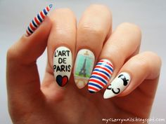 32 nail design ideas with stripes for a colorful summer - Nail Designs Tour Eiffel, Summery Nails, Gel Nails, Manicure, Cherry Nails, Fingernail Designs, Moustache, Nail Polish Colors, Paris France