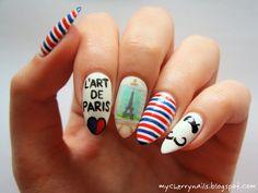 Paris, France, Eiffel Tower, stripes, moustache, black, white, red, blue, art, paint, painting, artist