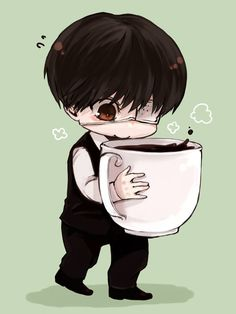 Nothing Is Cutter Than A Chibi Kaneki Holding Large Cup Of Coffee
