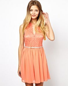 ASOS Pretty Belted Skater Dress