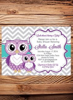 Hey, I found this really awesome Etsy listing at https://www.etsy.com/listing/267948906/purple-owls-baby-shower-invitation