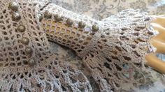 Fine Lace Crochet Gray Gothic Steampunk Victorian NeoVictorian Wrist Cuffs by Scarletrabbit