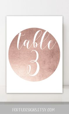 Rose gold table numbers - Printable wedding table decor. Circle table numbers. Custom summer wedding decor by FortuDesigns