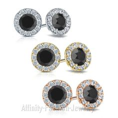 925 SILVER ROUND CUT AAA MOISSANITE & DIAMOND HALO STUD EARRINGS PUSH BACKS #AffinityFashionJewelry #Stud