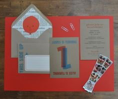 Cardboard Box theme... First Birthday Invitation from Hello Lucky! Letterpress Party Invitation