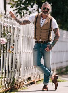 Kato Denim, Ultra white Sheehan & Co. Henley, leather suspenders, and vintage belt. All featured on http://sheehanandcompany.com