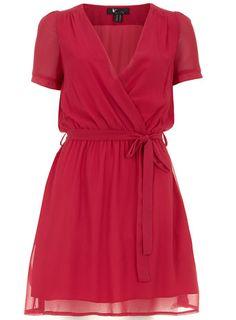 Pink Basic Shape Wrap Dress