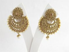 Wedding Chand Bali Earrings Tikka Set/Studded With by Beauteshoppe