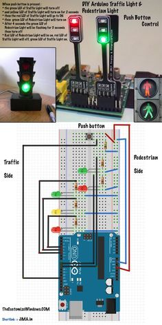 DIY Arduino Traffic Light Pedestrian Light Push Button Control , DIY Arduino Traffic Light Pedestrian Light Push Button Control Here is How to Create LED DIY Arduino Traffic Light - Pedestrian Light Push Button Cont. Led Projects, Electrical Projects, Electronics Projects, Electronics Storage, Electronics Gadgets, Led Arduino, Arduino Programming, Linux, Electronic Engineering