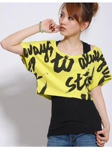 Bright Yellow Graffiti Crop Top With Black Undershirt