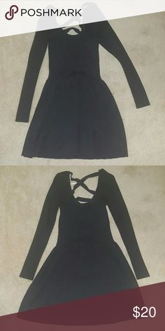 Charcoal sweater dress with strappy back Victoria's Secret charcoal sweater dress with strappy back. Long sleeve. Victoria's Secret Dresses Long Sleeve