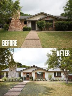 Best House Exterior Renovations By Joanna Gaines Here are the best before and after reveals on the show Fixer Upper House Front Curb Appeal and Home Front Southern House Bungalow paint landscaping redo Renovation Facade, Architecture Renovation, Bungalow Renovation, House Architecture, Home Exterior Makeover, Exterior Remodel, House Paint Exterior, Exterior House Colors, Ranch Homes Exterior