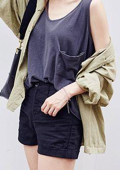 Loose Fit Pocket Tank   Korean Fashion #chuu